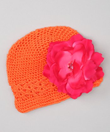 Orange & Pink Flower Beanie