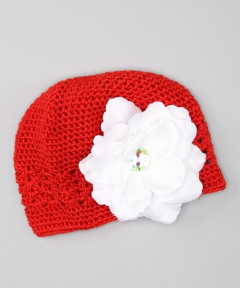 Red & White Flower Beanie