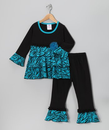 Turquoise Zebra Tunic & Pants - Toddler & Girls