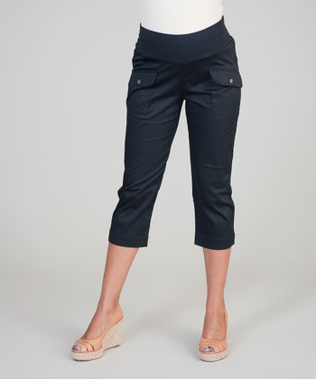 Haven Black Mid-Belly Maternity Capri Pants - Women