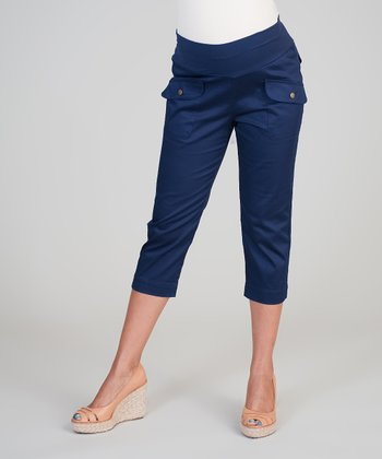Haven Navy Blue Mid-Belly Maternity Capri Pants - Women