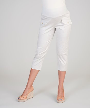 Sand Mid-Belly Maternity Capri Pants