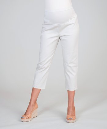 Silver Gray Mid-Belly Maternity Cropped Pants