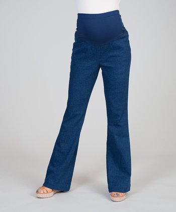 Blue Mid-Belly Maternity Flare Jeans