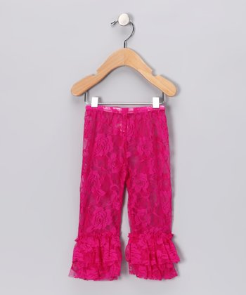 Hot Pink Lace Flared Leggings - Toddler & Girls