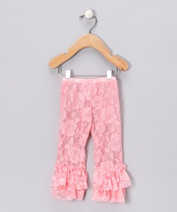 Petal Pink Lace Flared Leggings - Toddler & Girls