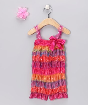 Watermelon Lace Ruffle Romper Set - Infant & Toddler