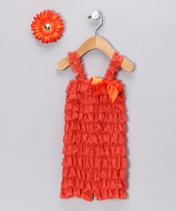 Orange Ruffle Romper & Flower Clip - Infant & Toddler