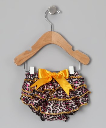 Yellow & Pink Leopard Ruffle Diaper Cover - Infant & Toddler