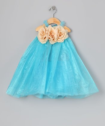 Blue & Yellow Flower Tulle Dress - Infant, Toddler & Girls