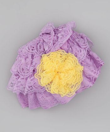 Lilac & Yellow Flower Lace Beanie