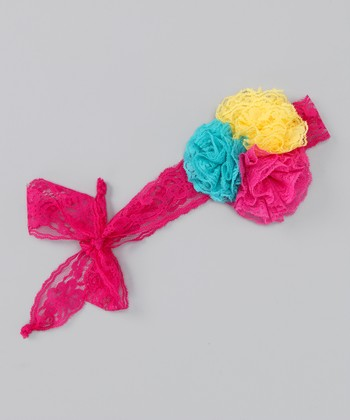 Hot Pink Flower Trio Headband