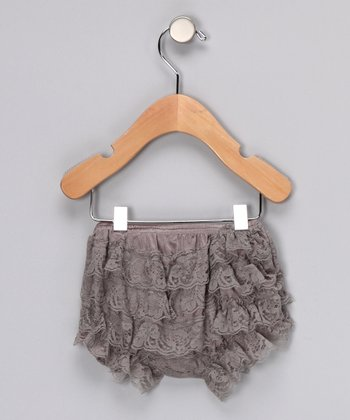 Gray Lace Ruffle Bloomers - Infant & Toddler