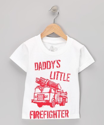 White 'Daddy's Little Firefighter' Tee - Toddler