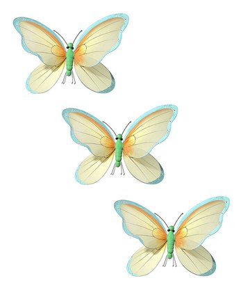 Yellow & Sky Blue Butterfly - Set of Three