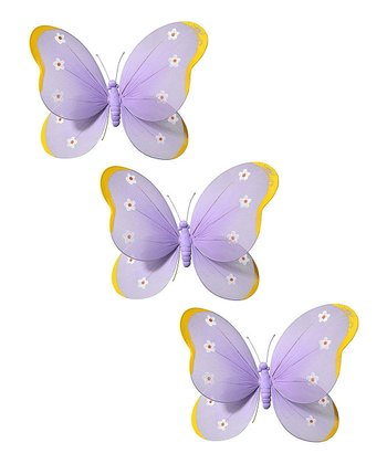Purple & Orange Butterfly - Set of Three