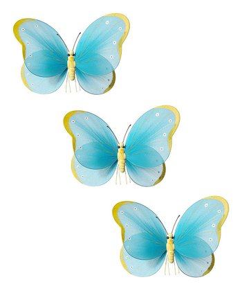Turquoise & Yellow Butterfly - Set of Three