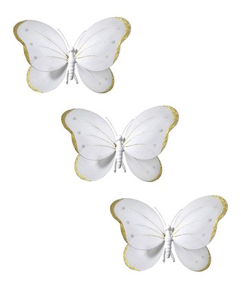 White & Gold Butterfly Set