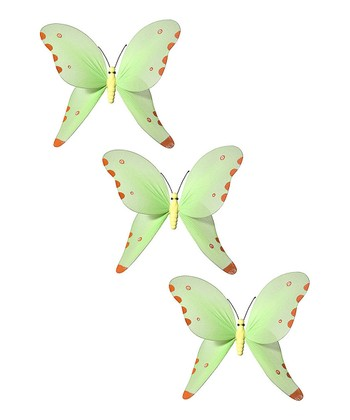 Green & Orange Butterfly - Set of Three