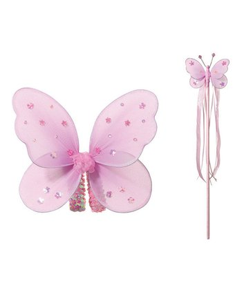 Pink Butterfly Fairy Wings & Wand