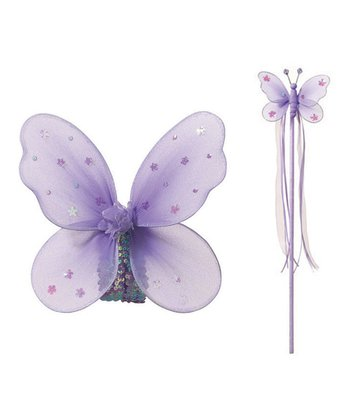 Purple Butterfly Fairy Wings & Wand