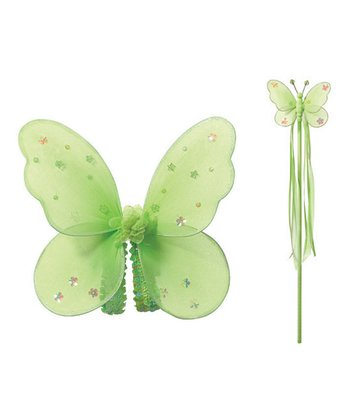 Green Butterfly Fairy Wings & Wand