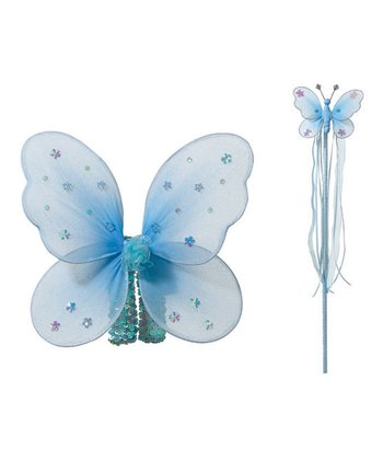 Blue Butterfly Fairy Wings & Wand