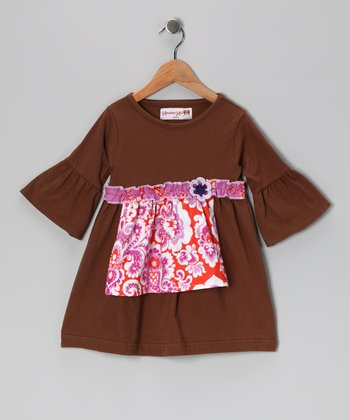 Brown & Pink Paisley Apron Dress - Toddler & Girls