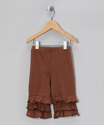 Brown Capri Ruffle Pants - Toddler & Girls