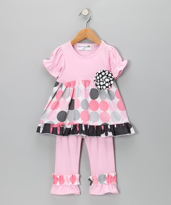 Pink Modern Polka Dot Tunic & Leggings - Girls