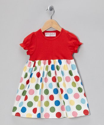Red & White Polka Dot Dress - Girls
