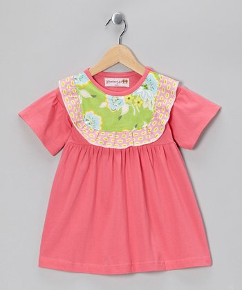 Pink & Green Flower Collar Dress - Toddler & Girls