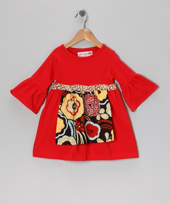 Red & Brown Flower Apron Dress - Toddler & Girls