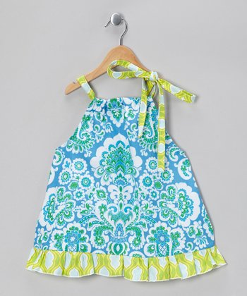 Blue & Green Peacock Dress - Toddler & Girls