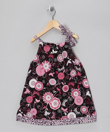 Black & Pink Bloom Dress - Toddler & Girls