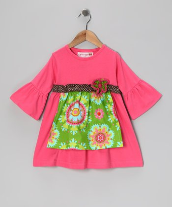 Pink & Lime Snowflake Apron Dress - Toddler
