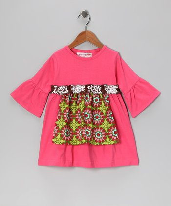 Pink & Lime Geo Flower Apron Dress - Toddler & Girls