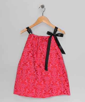 Hot Pink Damask Tie Dress - Toddler & Girls