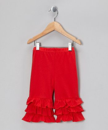 Red Capri Ruffle Pants - Toddler & Girls