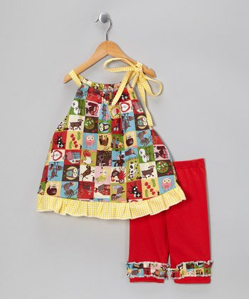 Yellow Farm Dress & Red Capris - Toddler & Girls