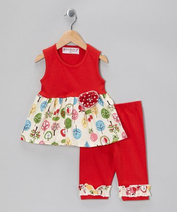 Red Forest Dress & Ruffle Capri Pants - Toddler & Girls