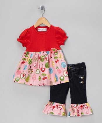 Red Floral Top & Ruffle Denim Pants - Girls