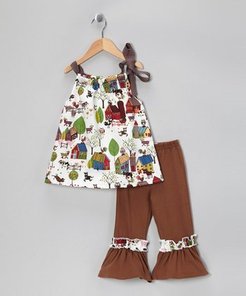 White Farm Dress & Mocha Ruffle Pants - Toddler & Girls