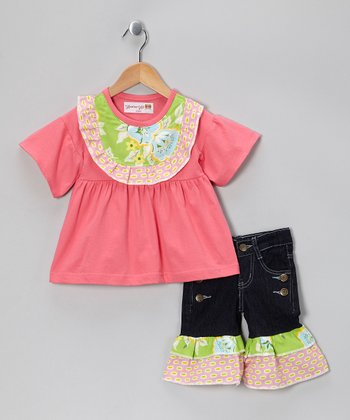 Pink Floral Bib Top & Denim Ruffle Capris - Toddler & Girls