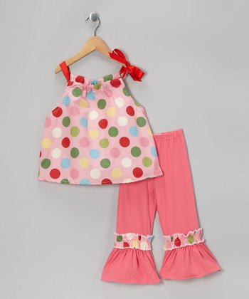 Pink Polka Dot Top & Ruffle Pants - Toddler & Girls