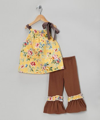 Yellow Spring Tunic & Brown Ruffle Pants - Toddler & Girls