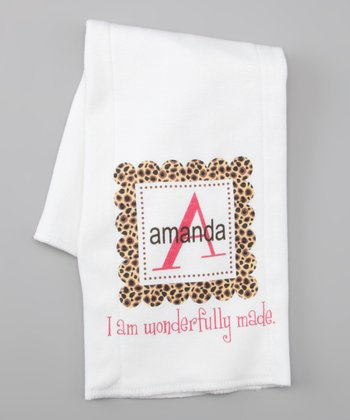 White Leopard Personalized Burp Cloth