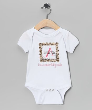 White Leopard Personalized Bodysuit