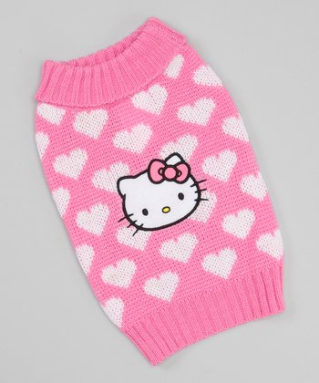 Pink & White Heart Dog Sweater