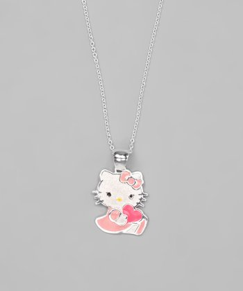 Pink & Sterling Silver Hello Kitty Love Necklace